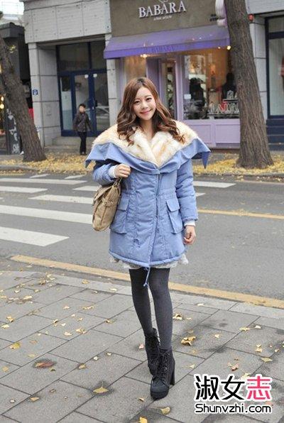 韩国女生大雪天穿衣打扮街拍 4图片