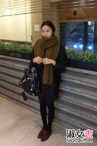 冬季韩国女人街拍搭配欧美范的气质 3图片
