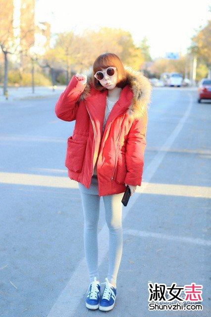 矮个子+打底裤+冬外套 冬天保暖显高不挑人
