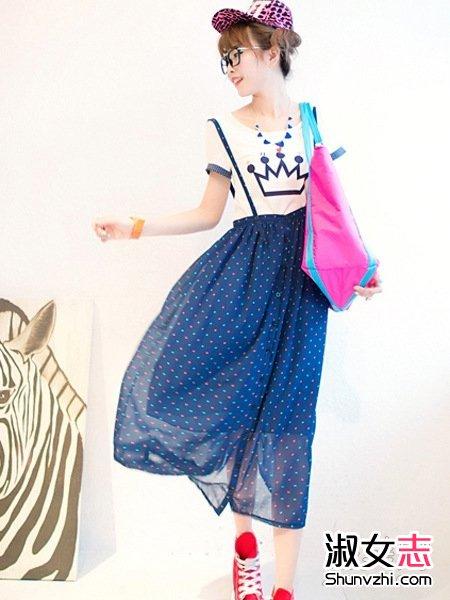 夏天韩式长裙搭T恤胸大女神范