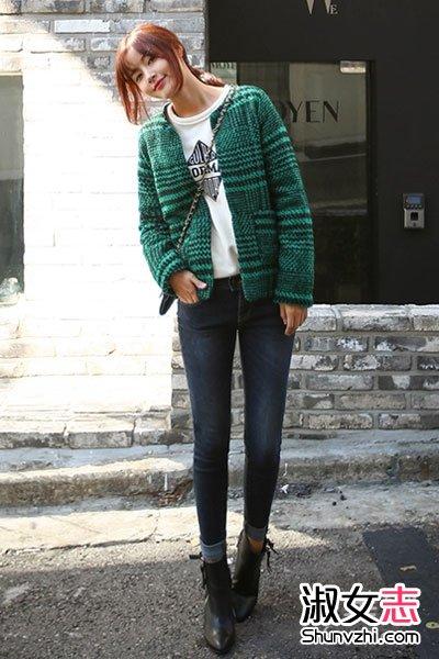街拍韩国美女短外套+紧身裤搭配