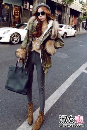 街拍女生棉衣外套搭配大方有型