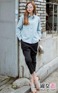 衬衫配九分裤打扮变身优雅女人