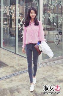 韩国街拍衬衫+牛仔裤显高瘦搭配