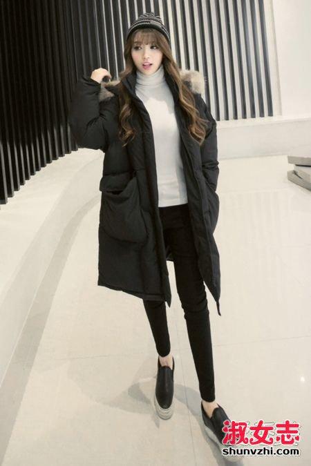 黑色羽绒服搭配黑色紧身裤 显瘦极了 黑色羽绒服怎么搭配