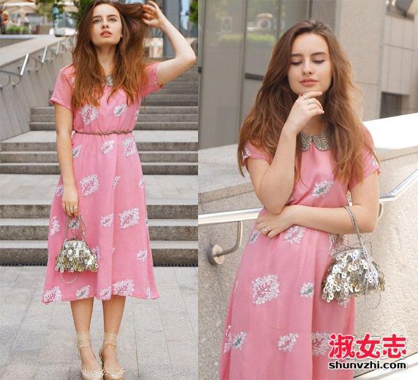 玫粉色连衣裙搭配_夏季粉色女装单品 搭配