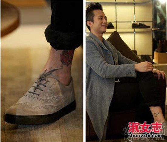 邓超纹身一:左脚踝   含义:在邓超左脚纹身里有一个如小太阳的纹身