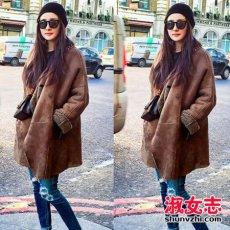 冬季女明星羊羔绒外套搭配街拍盘点