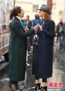 街拍冬季欧美潮女超长版大衣搭配