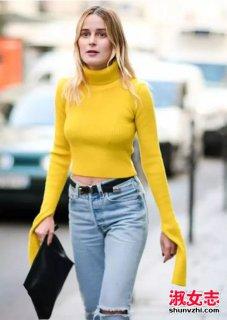 冬季怎么穿毛衣好看 欧美潮女街拍图片-潮人街拍图片