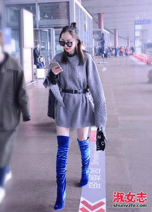 冬季学杨幂穿衣打扮 过膝长靴出美腿 2图片