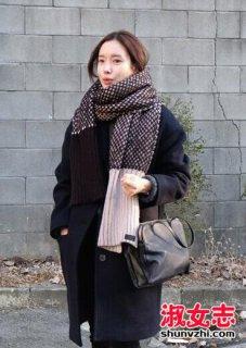 韩国妹子冬季围巾搭配图片
