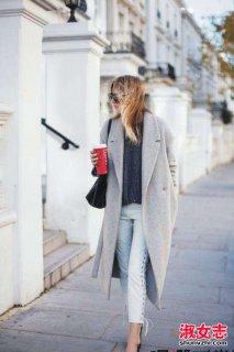 大衣搭配技巧 好看的绑带大衣搭配法