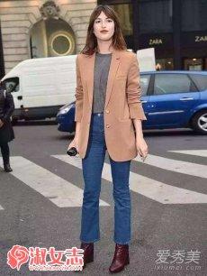 春季欧美达人西装配牛仔裤搭配街拍