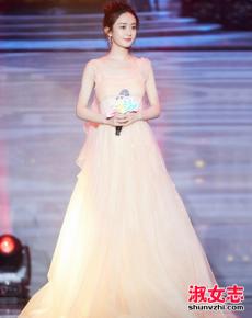 赵丽颖最新礼服搭配 粉色薄纱裙美极了