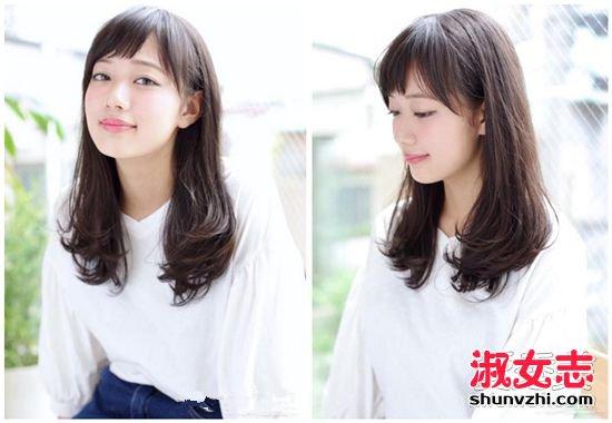 中女生弄好看2017长发中长发标准发型室体育器材图片初中图片