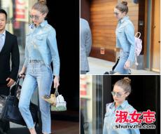 Gigi Hadid最新街拍 九分牛仔裤时髦搭配
