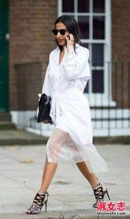夏季街拍欧美潮女白衬衫穿法