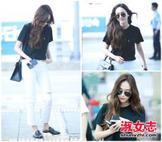 郑秀妍Jessica机场私服 黑白配也能美上天
