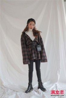 冬季复古风的高领毛衣搭配图片