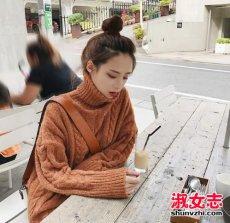 2017冬季韩国美女街拍防风保暖的高领内搭