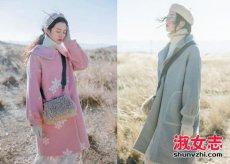 女生冬季柔和色系森女风格穿搭