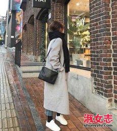冬季女生大衣配牛仔裤搭配街拍