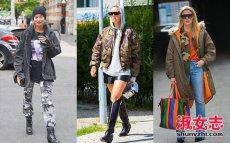 潮女街拍迷彩服外套搭配很时髦