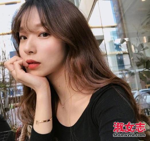 空气刘海发型图片中长发图片