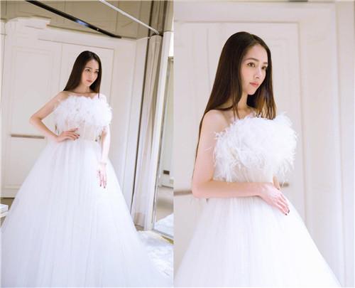 郭碧婷婚纱照清晰 尽显优雅气质