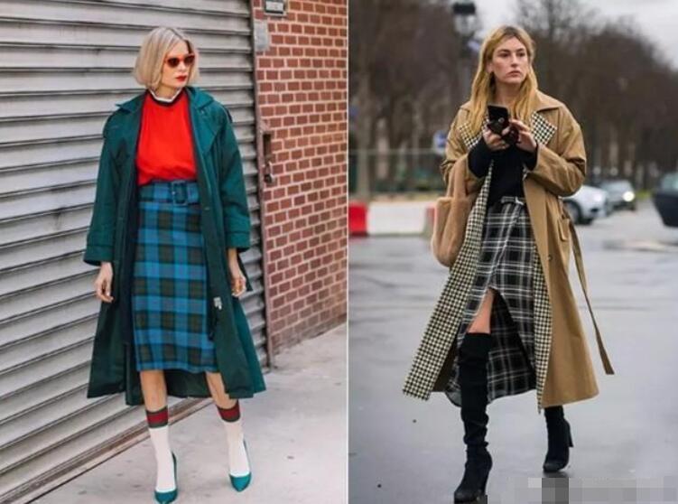 格纹裙 大衣 短靴