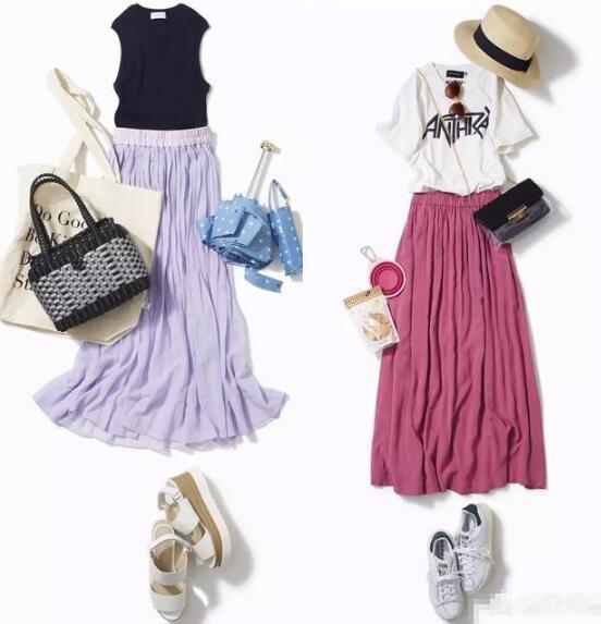 黑色无袖T恤 香芋紫半裙