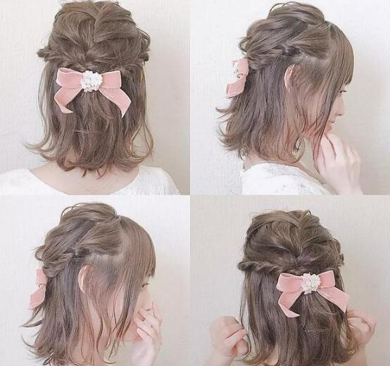 粉红色的法式搭配半扎头