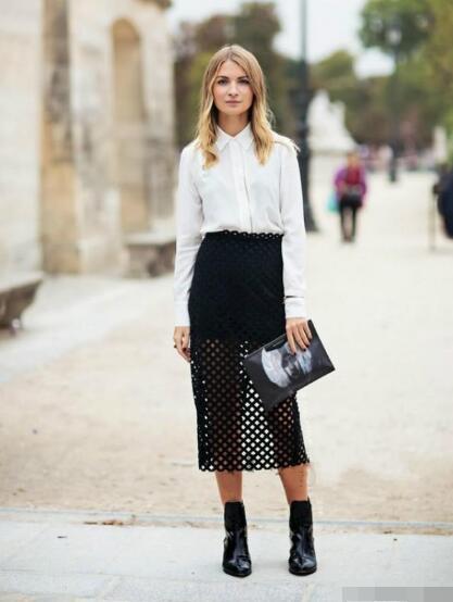 衬衫 镂空半裙 平底靴