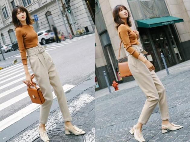 高腰米色休闲裤
