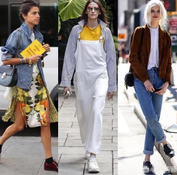 碎花连衣裙 牛仔外套 黄色T恤 白色背带裤